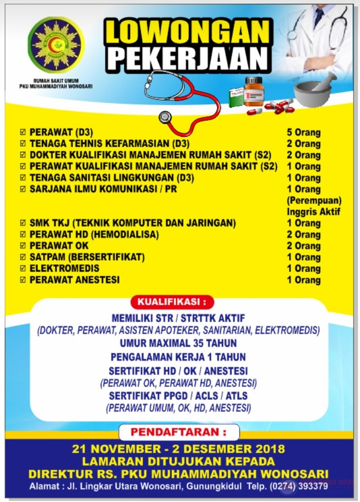 Lowongan Pekerjaan Pku Muhammadiyah Wonosari Teknologi Elektro Medis